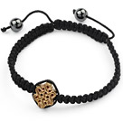 Simple Design Alloy Chinese Knot and Hematite Beads Adjustable Drawstring Bracelet