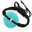 Simple Design Donut Shape Turquoise Adjustable Drawstring Bracelet