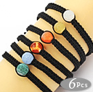 6 Pieces Round Multi Color Weathering Agate and Hematite Beads Adjustable Drawstring Bracelets ( Random Color )