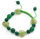 Green Series Heart Shape Olive Jade and Round Green Agate Knotted Adjustable Drawstring Bracelet