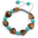 Assorted Heart Shape Tiger Eye and Round Turquoise Knotted Adjustable Drawstring Bracelet