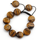 Brown Series 17mm Flat Round Tiger Eye Knotted Adjustable Drawstring Bracelet