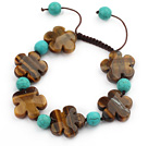 Brown Series Flower Shape Tiger Eye and Round Turquoise Knotted Adjustable Drawstring Bracelet