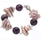Speical Design Round Ball Shape Amethyst And Lavender Color Biwa Pearl Bracelet With Toggle Clasp under $ 40