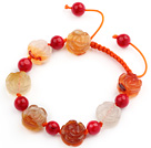 Flower Shape Natural Color Agate and Round Alaqueca Knotted Adjustable Drawstring Bracelet