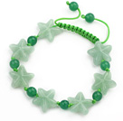 Green Series Star and Round Shape Aventurine Knotted Adjustable Drawstring Bracelet