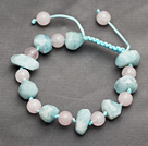 Pink and Blue Series Incidence Angle Aquamarine and Rose Quartz Knotted Adjustable Drawstring Bracelet