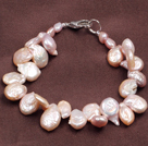 Fashion Natural Pirple Freshwater Button Pearl Bracelet
