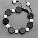 Negro Series Flat Round Negro ágata y la piedra de porcelana blanca anudada pulsera con cordón ajustable