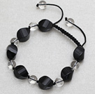 Black Series Black Agate and Clear Crystal Knotted Adjustable Drawstring Bracelet