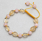 Egg Shape Citrine and Round Rose Quartz Knotted Adjustable Drawstring Bracelet
