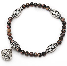 nice round red jasper and tibet silver lolus tube charm beads bracelet