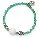 elegant round green agate white sea shell and tibet silver buddhu head fish charm beads bracelet