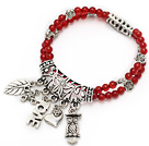 nice natural A grade round red agate and tibet silver leaf owl heart charm layer beaded bracelet