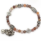 fashion round 4mm persia agate and tibet silver flower lucky bag charm beaded bracelet