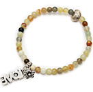 nice round serpentine jade and tibet silver heart flower charm beaded bracelet