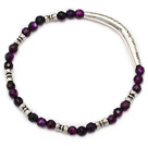 nice round faceted purple agate and tibet silver tube charm beaded bracelet