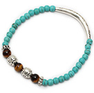 fashion round blue turquoise tiger eye and tibet silver tube charm beaded bracelet