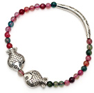 Round Colorful Agate and tibet silver double fishes tube charm bracelet