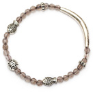 lovely round gray agate and tibet silver fish tube charm beads bracelet