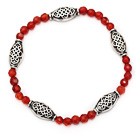 nice faceted round red agate and tibet silver carved charm beads bracelet