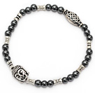 nice round tungsten steel and tibet silver buddhu head charm beads bracelet