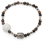 fashion round red jasper and white sea shell lotus and tibet silver buddhu head charm bracelet