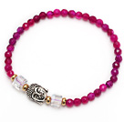 wonderful 4mm round rose agate and tibet silver buddhu head charm beads bracelet