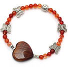 fashion round natural color agate heart shape tiger eye and butterfly charm bracelet