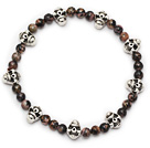 lovely round red jasper and tibet silver skull beaded charm bracelet under $ 40