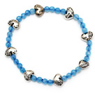 nice round blue jade and tibet silver heart charm beads bracelet