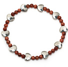 elegant round goldstone and tibet silver heart charm beaded bracelet