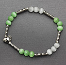 lovely 6mm round green white cat's eye and tibet silver carved tube heart charm beaded bracelet
