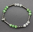 lovely 6mm round green white cat's eye and tibet silver carved tube heart charm beaded bracelet under $ 40