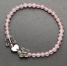 lovely 4-10mm round rose quartz and tibet silver butterfly heart charm beads bracelet
