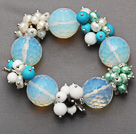 facetten ronde opaal en cluster parel turquoise agaat porselein steen armband