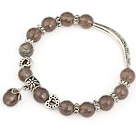 fashion faceted 8mm round gray agate and tibet silver tube heart charm beads bracelet