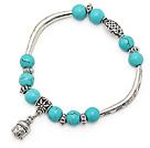 dejlige 8mm runde blå turkis og mutli tibet sølv rør buddhu head charm perler armbånd