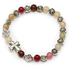 lovely 6mm three color jade and tibet silver flower cross charm beads bracelet