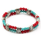 fashion 4mm double strands round blue turquoise and red coral tibet silver charm elastic bracelet