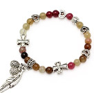 fashion 6mm three color jade and multi tibet silver cross heart leaf bag charm bracelet