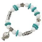 beautiful disc turquoise white porcelain stone and tibet silver tube flower fish charm bracelet under $ 40