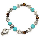 fashion blue turquoise round tiger eye and tibet silver fish charm beads bracelet under $ 40