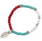 encantadora 4mm blanco y azul turquesa redonda coral rojo y hoja de plata tibet encanto pulsera de cuentas