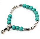lovely 8mm round green turquoise and tibet silver tube bag charm beads bracelet