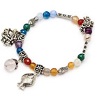 fashion multi colorful round agate and tibet silver fish flower tube charm beads bracelet