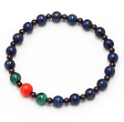 elegant mixed round lapis garnet peacock and coral stretchy beads bracelet