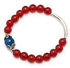 Classic A grade round red agate and faceted blue agate and tibet silver cap tube charm bracelet under $ 40