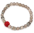 nice round faceted gray agate and red rhinestone ball stretch bracelet