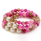 fashion multi srands round watermelon jade and white freshwater pearl beaded bracelet